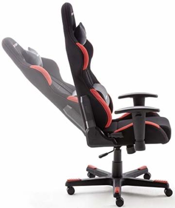 Robas Lund OH/FD01/NR DX Racer 1 Gaming-/ Büro-/ Schreibtischstuhl, mit Wippfunktion Gaming Stuhl Höhenverstellbarer Drehstuhl PC Stuhl Ergonomischer Chefsessel, schwarz-rot - 8