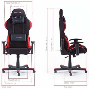 Robas Lund OH/FD01/NR DX Racer 1 Gaming-/ Büro-/ Schreibtischstuhl, mit Wippfunktion Gaming Stuhl Höhenverstellbarer Drehstuhl PC Stuhl Ergonomischer Chefsessel, schwarz-rot - 9