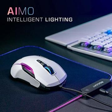 Roccat Kone AIMO Gaming Maus (hohe Präzision, Optischer Owl-Eye Sensor (100 bis 16.000 Dpi), RGB AIMO LED Beleuchtung, 23 programmierbare Tasten, Designt in Deutschland, USB), weiß(remastered) - 4