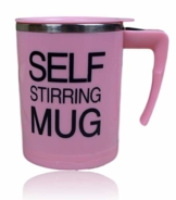 Selbstrührender Becher Selbstrührende Tasse für Heißegetränke   Kaffeetasse Kaffeebecher mit Griff und Deckel   Kaffeetasse batteriebetrieben   mischender Becher - 350ml   Thermosbecher Farbe Pink - 1