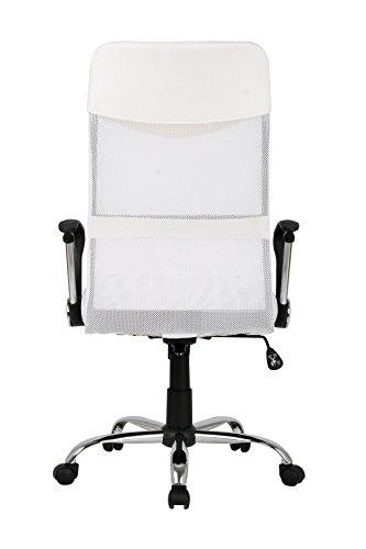 SixBros. Chefsessel Bürostuhl Drehstuhl SchreibtischstuhlSixBros. Bürostuhl,Schreibtischstuhl zum Drehen, Drehstuhl für's Büro oder Home-Office, stufenlos höhenverstellbar, Chefsessel aus Netzstoffund Kunstleder, weiß H-935-6/1320 - 6