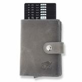 Solo Pelle Leder Geldbörse Q-Wallet mit integriertem Kartenetui für 15 Karten + Geldscheine geeignet | Kreditkartenetui mit RFID (Steingrau) - 1
