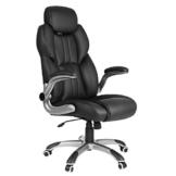 SONGMICS Bürostuhl, ergonomischer Drehstuhl, mit klappbaren Armlehnen, Nylon-Sternfuß, Tragfähigkeit 150 kg, schwarz OBG65BK - 1
