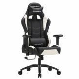 SONGMICS Bürostuhl Racing Stuhl Gamingstuhl mit Hoher Rückenlehne Formschaum Gepolsterte Sitzschale Verstellbare Kopfkissen und Lendenkissen für Soho- Oder Büroarbeit (Schwarz-weiß) RCG12W - 1