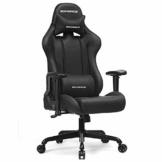 SONGMICS Gamingstuhl 150 kg, Bürostuhl, Schreibtischstuhl mit Lendenkissen, Stahlgestell, hoher Rückenlehne und breiter Sitzfläche, höhenverstellbar, ergonomisch, Kunstleder, schwarz RCG42BK - 1