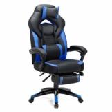 SONGMICS Gamingstuhl, Bürostuhl mit Fußstütze, Schreibtischstuhl, ergonomisches Design, verstellbare Kopfstütze, Lendenstütze, bis zu 150 kg belastbar, Schwarz-Blau, OBG77BU - 1