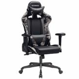 SONGMICS Gamingstuhl, Bürostuhl mit hoher Rückenlehne, Computerstuhl, Racing Chair, gepolsterter Sitz, Kopfstütze und Lendenkissen verstellbar, fürs Büro, Arbeitszimmer, schwarz-Tarnfarben RCG47BG - 1