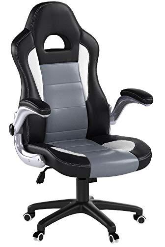 SONGMICS Gamingstuhl, Racing Chair, Schreibtischstuhl mit hoher Rückenlehne, Bürostuhl, höhenverstellbar, hochklappbare Armlehnen, Wippfunktion, für Gamer, schwarz-grau-weiß OBG28G - 12