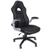 SONGMICS Gamingstuhl, Racing Chair, Schreibtischstuhl mit hoher Rückenlehne, Bürostuhl, höhenverstellbar, hochklappbare Armlehnen, Wippfunktion, für Gamer, schwarz OBG28B - 1