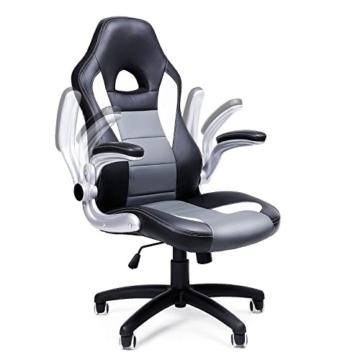 SONGMICS Gamingstuhl, Racing Chair, Schreibtischstuhl mit hoher Rückenlehne, Bürostuhl, höhenverstellbar, hochklappbare Armlehnen, Wippfunktion, für Gamer, schwarz-grau-weiß OBG28G - 4