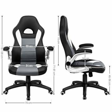 SONGMICS Gamingstuhl, Racing Chair, Schreibtischstuhl mit hoher Rückenlehne, Bürostuhl, höhenverstellbar, hochklappbare Armlehnen, Wippfunktion, für Gamer, schwarz-grau-weiß OBG28G - 6