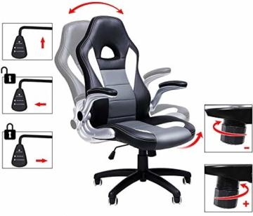 SONGMICS Gamingstuhl, Racing Chair, Schreibtischstuhl mit hoher Rückenlehne, Bürostuhl, höhenverstellbar, hochklappbare Armlehnen, Wippfunktion, für Gamer, schwarz-grau-weiß OBG28G - 7
