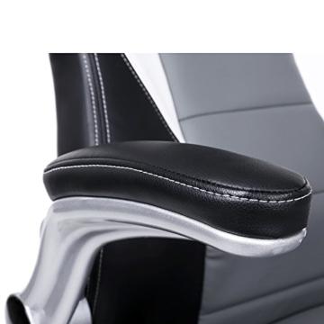 SONGMICS Gamingstuhl, Racing Chair, Schreibtischstuhl mit hoher Rückenlehne, Bürostuhl, höhenverstellbar, hochklappbare Armlehnen, Wippfunktion, für Gamer, schwarz-grau-weiß OBG28G - 9