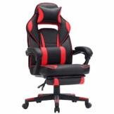 SONGMICS Gamingstuhl, Schreibtischstuhl mit Fußstütze, Bürostuhl mit Kopfstütze und Lendenkissen, höhenverstellbar, ergonomisch, 90-135° Neigungswinkel, bis 150 kg belastbar, schwarz-rot OBG73BRV1 - 1