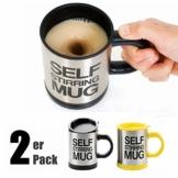 SOPRETY 2 Stück Automatischer Rührbecher Selbstrührende Tasse Becher mit Deckel 400 ml Für Kaffee Milch Saft Kakao, schwarz und gelb - 1