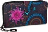 styleBREAKER Geldbörse mit Ethno Blumen und Blüten Muster, Vintage Design, Reißverschluss, Portemonnaie, Damen 02040040, Farbe:Dunkelblau-Blau-Pink - 1