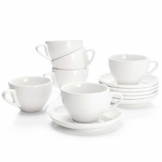 Sweese 402.001 6-teilig Cappuccinotassen Set aus Porzellan, Dickwandige Kaffeetassen mit Untertasse, 180 ml - 1