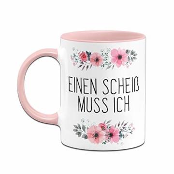 Tassenbrennerei Tasse mit Spruch Einen Scheiß muss ich - Kaffeetasse lustig - Spülmaschinenfest (Rosa) - 3