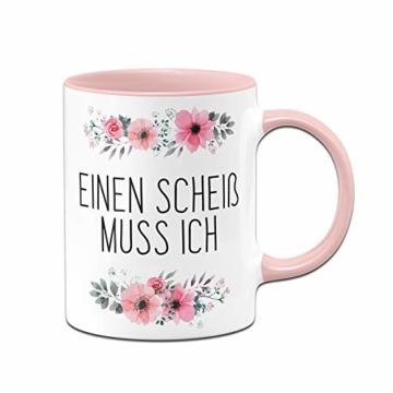 Tassenbrennerei Tasse mit Spruch Einen Scheiß muss ich - Kaffeetasse lustig - Spülmaschinenfest (Rosa) - 1