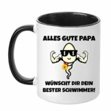 TassenTicker - Alles Gute Papa. Wünscht dir Dein Bester Schwimmer - Geschenk - Vatertag - Kaffeetasse - Tasse für Männer - lustig - Geburtstag - Geschenkidee (Schwarz) - 1