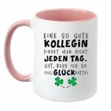 """TassenTicker® """"Eine so Gute Kollegin findet Man Nicht jeden Tag - beidseitig Bedruckt - Kaffeetasse - Arbeit - Büro - Geschenkidee (rosa) - 1"""