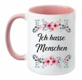 TassenTicker - ''Ich Hasse Menschen'' - beidseitig Bedruckt - Tasse - Kaffeetasse - Kaffeebecher - lustig - Geschenk - Arbeit (Rosa) - 1