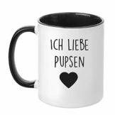 TassenTicker - Ich Liebe Pupsen - Tasse - Kaffeetasse - 4 Farben Auswahl - (Schwarz) - 1