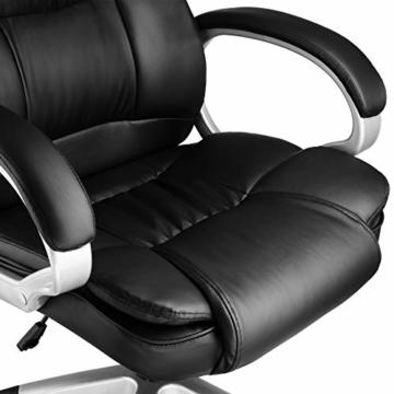 TecTake 403238 Chefsessel mit doppelter Polsterung, ergonomischer Bürostuhl mit Armlehnen, höhenverstellbar, stufenlose Wippmechanik, Lederoptik, schwarz - 4