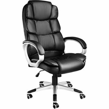 TecTake 403238 Chefsessel mit doppelter Polsterung, ergonomischer Bürostuhl mit Armlehnen, höhenverstellbar, stufenlose Wippmechanik, Lederoptik, schwarz - 1