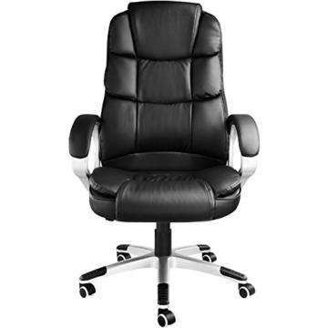 TecTake 403238 Chefsessel mit doppelter Polsterung, ergonomischer Bürostuhl mit Armlehnen, höhenverstellbar, stufenlose Wippmechanik, Lederoptik, schwarz - 5
