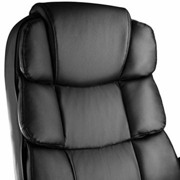 TecTake 403238 Chefsessel mit doppelter Polsterung, ergonomischer Bürostuhl mit Armlehnen, höhenverstellbar, stufenlose Wippmechanik, Lederoptik, schwarz - 6
