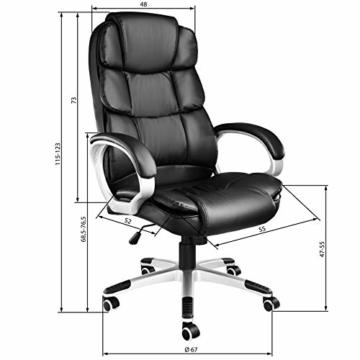 TecTake 403238 Chefsessel mit doppelter Polsterung, ergonomischer Bürostuhl mit Armlehnen, höhenverstellbar, stufenlose Wippmechanik, Lederoptik, schwarz - 7