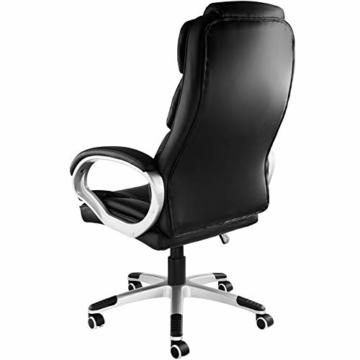 TecTake 403238 Chefsessel mit doppelter Polsterung, ergonomischer Bürostuhl mit Armlehnen, höhenverstellbar, stufenlose Wippmechanik, Lederoptik, schwarz - 8
