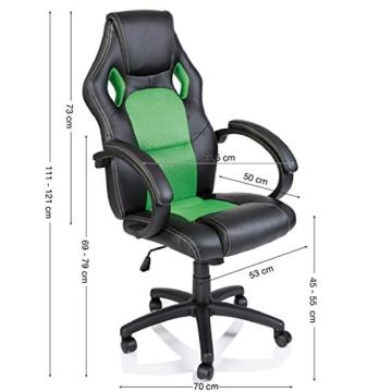 Tresko Bürostuhl / Schreibtischstuhl im Racing-Stil, PU-Leder, Drehstuhl für PC-Tische grün - 2