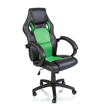 Tresko Bürostuhl / Schreibtischstuhl im Racing-Stil, PU-Leder, Drehstuhl für PC-Tische grün - 3