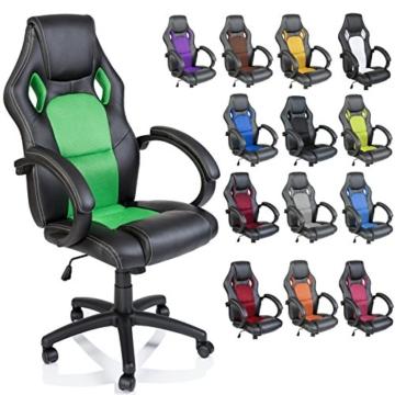 Tresko Bürostuhl / Schreibtischstuhl im Racing-Stil, PU-Leder, Drehstuhl für PC-Tische grün - 1