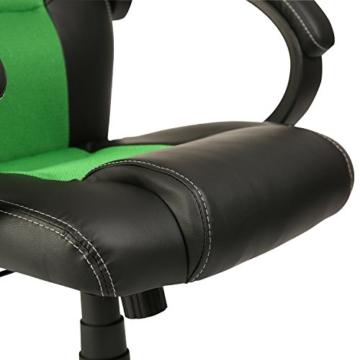 Tresko Bürostuhl / Schreibtischstuhl im Racing-Stil, PU-Leder, Drehstuhl für PC-Tische grün - 5