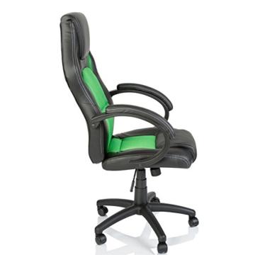 Tresko Bürostuhl / Schreibtischstuhl im Racing-Stil, PU-Leder, Drehstuhl für PC-Tische grün - 6