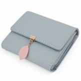 UTO Geldbörse Damen Kleine Geldbeutel Damen Blatt Anhänger PU Leder Brieftasche Organizer Mädchen Reißverschluss Babyblau - 1