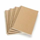 VEESUN 4 STK Notizbuch A5 Spirale Notizblock, Kraft Cover Leerseite (80 Blatt) Notizheft Skizzenblock, Classic Tagebuch Schreibblock Zeichenblock, Gut für Memos, Malen und Graffiti, MEHRWEG - 1