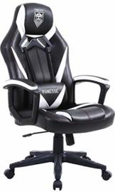 Vonesse Gaming Stuhl für Erwachsene, Ergonomischer Computerstuhl mit Massage, Bürostuhl aus Kohlefaser Leder, Großer Schreibtischstuhl mit Armlehne, Hohe Rückenlehne PC Stuhl für Gamer (Schwarz) - 1