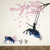 Wandtattoo Mädchen auf Baum Swing & Moose Silhouette Wand Aufkleber mit Rosa Schmetterlinge Dekorative Abnehmbare Wandsticker DIY Vinyl Wand Aufkleber für Wohnzimmer, Schlafzimmer - 1