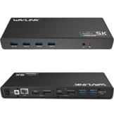 WAVLINK USB 3.0 / USB C Ultra 5K Universal Docking Station unterstützt Dual 4K Videoausgänge für Laptop, PC oder Mac (DisplayPort und HDMI, Gigabit Ethernet, Audioausgang und Mic in, 6 USB 3.0 Ports) - 1