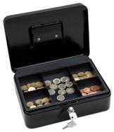 Wedo 145321X Geldkassette (aus pulverbeschichtetem Stahl, versenkbarer Griff, 5-Fächer-Münzeinsatz, Sicherheits-Zylinderschloss, 25 x 18 x 9 cm) schwarz - 1