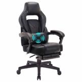 Wolmic Racing Stil Gaming-Stuhl mit Fußstütze E-Sports Höhe Rücken Ergonomischer Computer Schreibtisch Leder Bürostuhl mit Verstellbarer und gepolsterter Kopfstütze (9015Schwarz) - 1