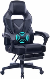 Wolmic Racing Stil Gaming-Stuhl mit Fußstütze E-Sports Höhe Rücken Ergonomischer Computer Schreibtisch Leder Bürostuhl mit Verstellbarer und gepolsterter Kopfstütze (9015Grey-5) - 1
