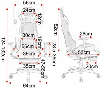 WOLTU Gaming Stuhl Racing Stuhl Bürostuhl Chefsessel Schreibtischstuhl Sportsitz mit Kopfstütze und Lendenkissen, Armlehne verstellbar, mit Fußstütze, Kunstleder, höhenverstellbar, Weiß, BS14ws - 2