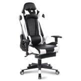 WOLTU Gaming Stuhl Racing Stuhl Bürostuhl Chefsessel Schreibtischstuhl Sportsitz mit Kopfstütze und Lendenkissen, Armlehne verstellbar, mit Fußstütze, Kunstleder, höhenverstellbar, Weiß, BS14ws - 1