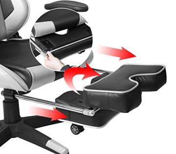 WOLTU Gaming Stuhl Racing Stuhl Bürostuhl Chefsessel Schreibtischstuhl Sportsitz mit Kopfstütze und Lendenkissen, Armlehne verstellbar, mit Fußstütze, Kunstleder, höhenverstellbar, Weiß, BS14ws - 4