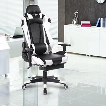 WOLTU Gaming Stuhl Racing Stuhl Bürostuhl Chefsessel Schreibtischstuhl Sportsitz mit Kopfstütze und Lendenkissen, Armlehne verstellbar, mit Fußstütze, Kunstleder, höhenverstellbar, Weiß, BS14ws - 5